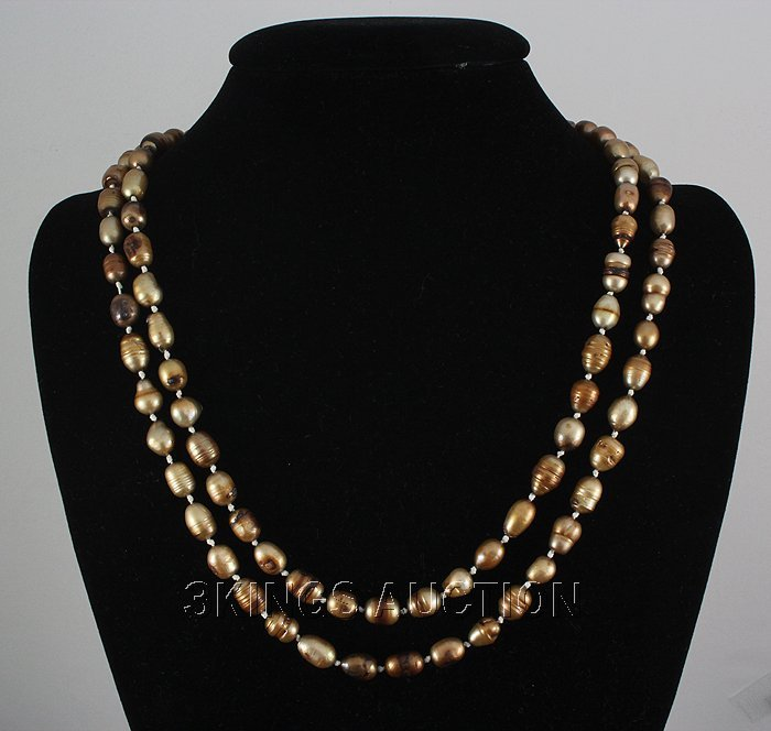 """451.35CTW 46"""" BROWN LONGSTRAND FRESHWATER PEARL NECKLAC"""