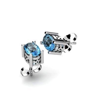 Aqua Marine 0.80ctw Earring 14kt White Gold