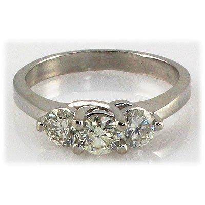 Genuine 1.80 ctw Diamond 3-Stone Ring 14K WG H, SI2/SI3