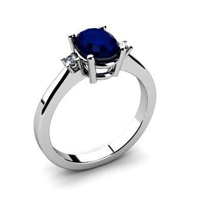 Sapphire 1.55 ctw Diamond Ring 14kt White Gold
