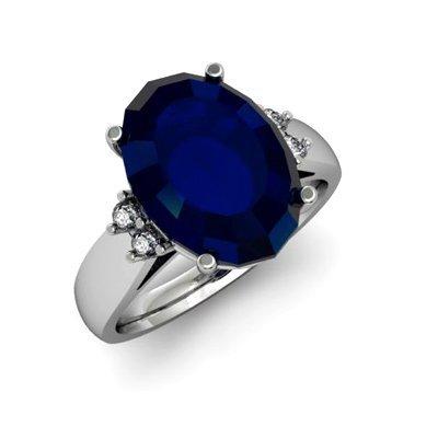 Sapphire 7.25 ctw & Diamond Ring 14kt White Gold