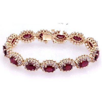 Ruby 18.40 ctw Diamond Bracelet 14k W/Y Gold