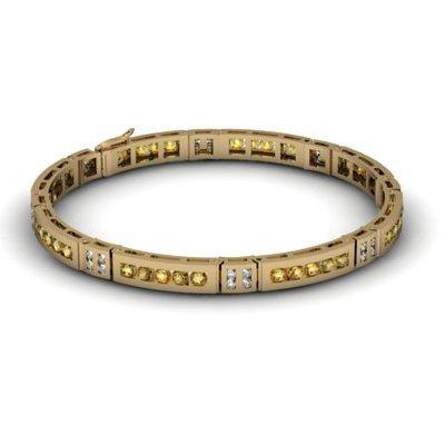 Citrine 2.56 ctw & Diamond Bracelet 14kt W OR Y Gold