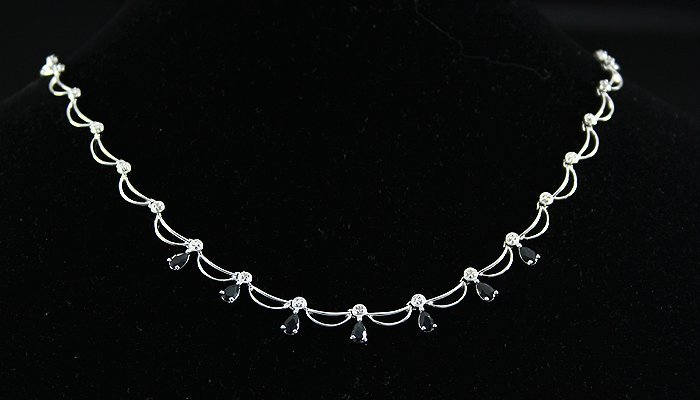 Sterling 3.14 Diamond Black Sapphire Necklace