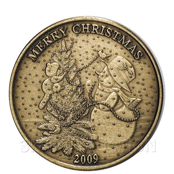 Christmas 2009 Bronze Round X-10 Snowman Christmas Tree
