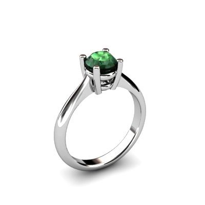 Emerald 0.80ctw Ring 14kt White Gold