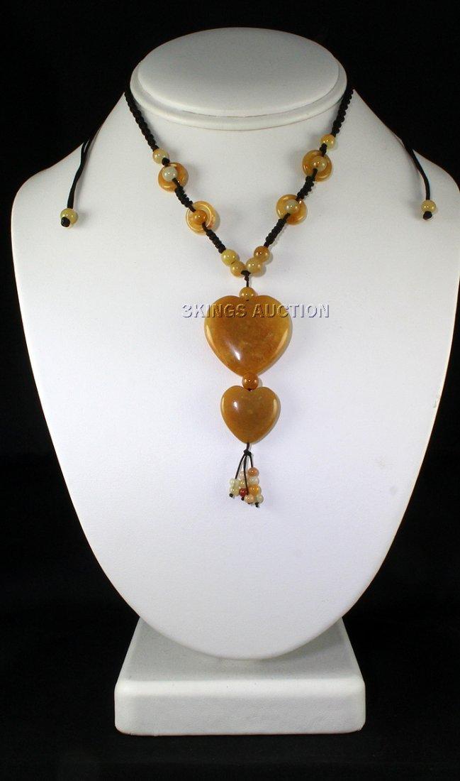Natural 109.79ctw Heart Dangling Jade Necklace