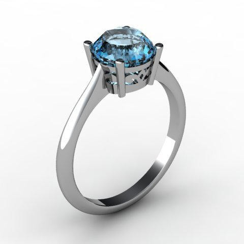Aqua Marine 1.60 ctw Ring 14kt White Gold