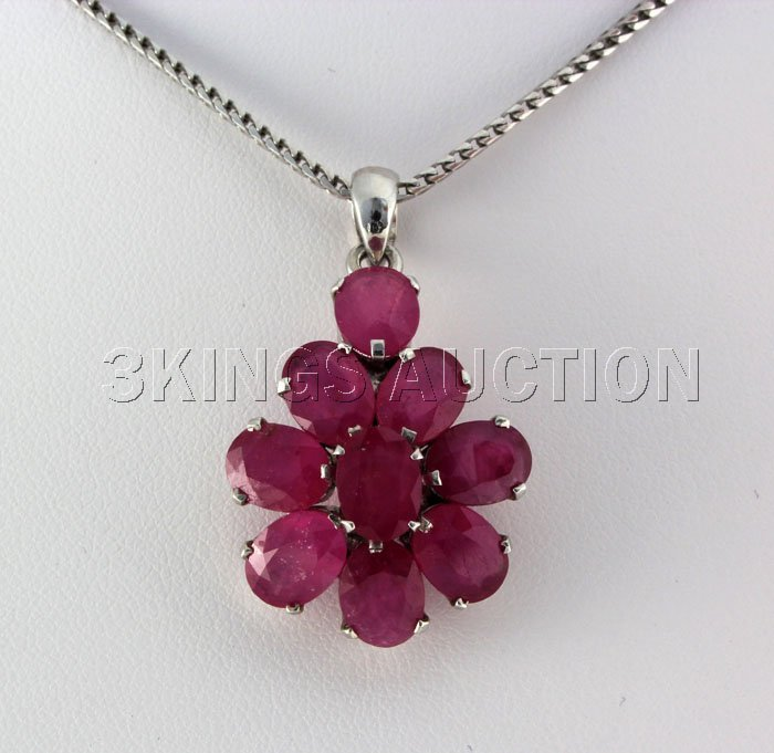 30.53CTW Natural Pink Ruby-Sterling Silver Pendant