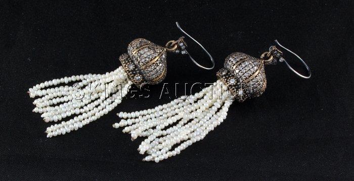 126.10ctw Victorian Silver Jewelry Dangling Earring