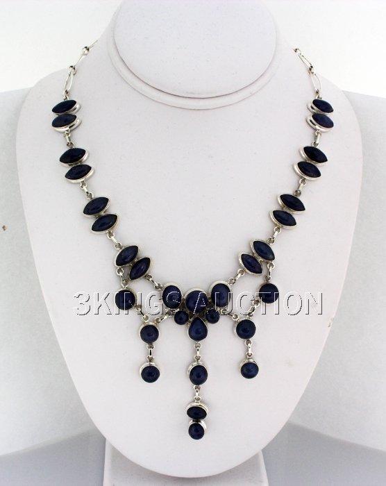 Gorgeous 398.00ctw Tanzanite Cabochons 0.925 Necklace