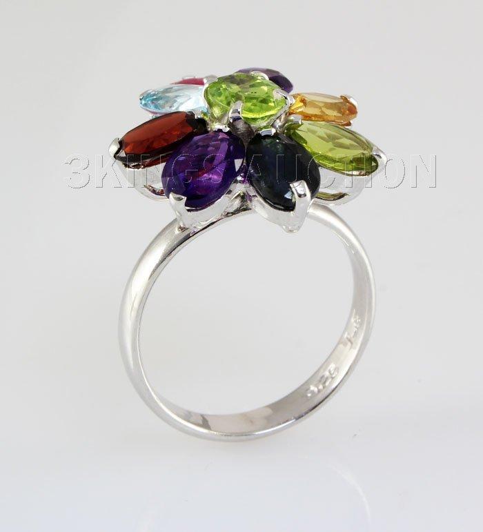 28.35CTW Multi-color Precious Stone Silver Ring