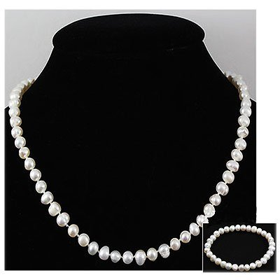 218.04 ctw Fresh Water Rice Pearl Necklace & Bracelet