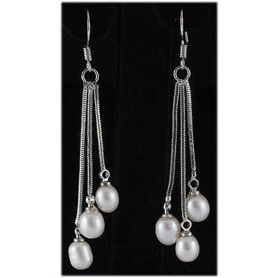 Natural 4.71g Freshwater Dangling Silver Earring