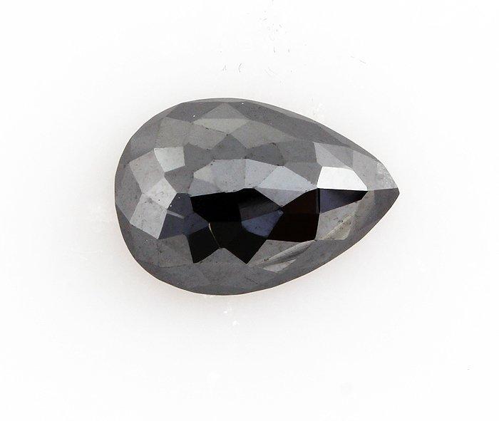 Jet Black Color AA Pear Brilliant 2.89CTW Loose Black D