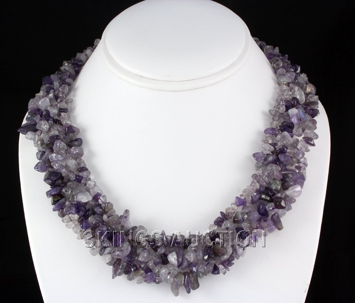 """661CTW 18"""" AMETHYST CHIPPED STONE NECKLACE METAL LOCK P"""