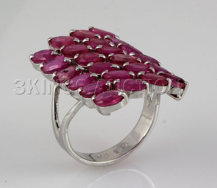 33.16CTW Pink Ruby Cluster Design Silver Ring