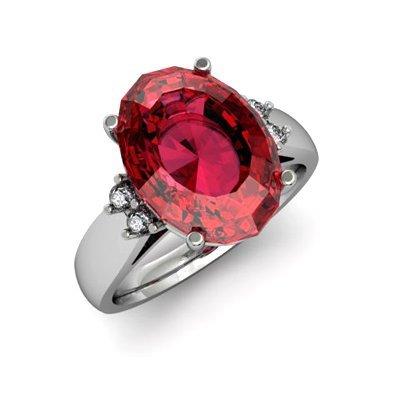 Garnet 7.00 ctw & Diamond Ring 14kt White Gold