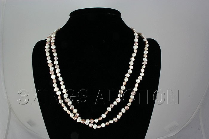 161.00CTW 16in. RICE PEARL WHITE-PEACH NECKLACE
