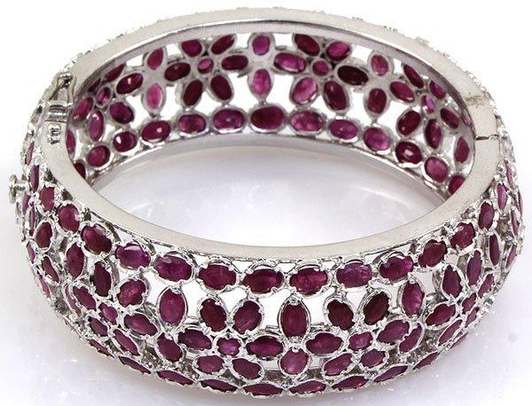 Ruby Bangle Bracelet 92.5 Sterling Silver 54 Grams Diam