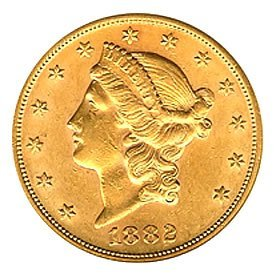 $20 Liberty Almost Uncirculated Early Gold Bullion1882S