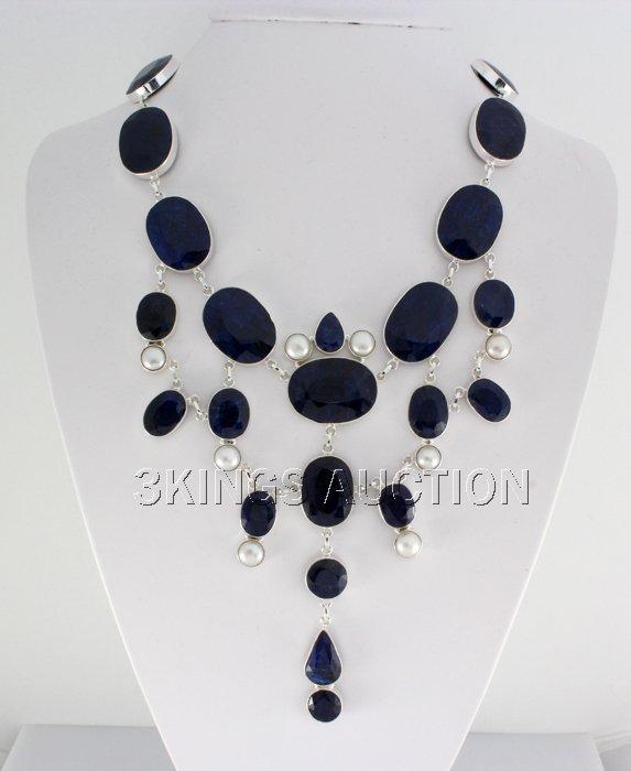 Exquisite 870.00ctw Corrundum Sapphire Silver Necklace