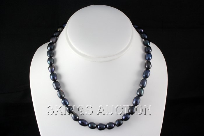 """242.68CTW 18"""" BLACK FRESHWATER PEARL NECKLACE METAL LOC"""