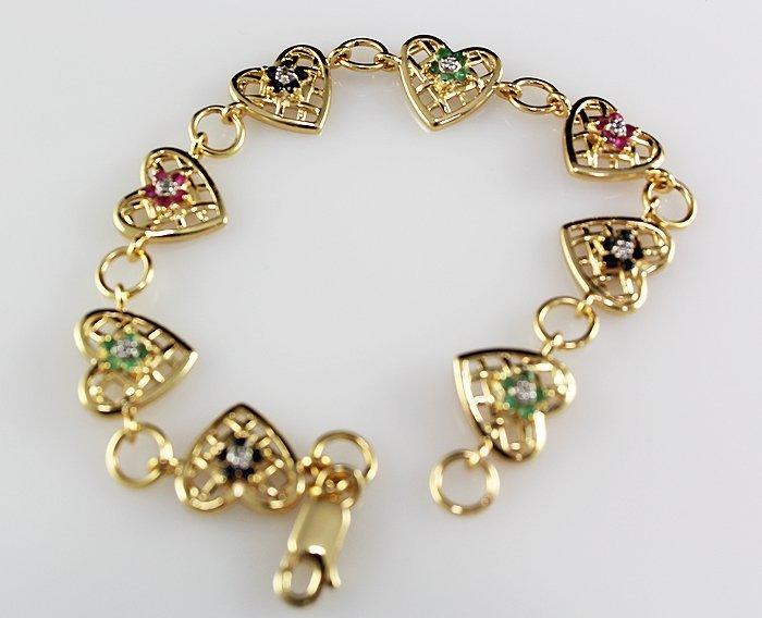 Sterling Gold Milti Stone Heart Bracelet