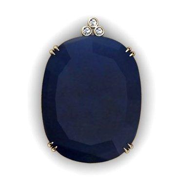 Sapphire Oval 87.51ctw Diamond Pendant 14k W/Y Gold