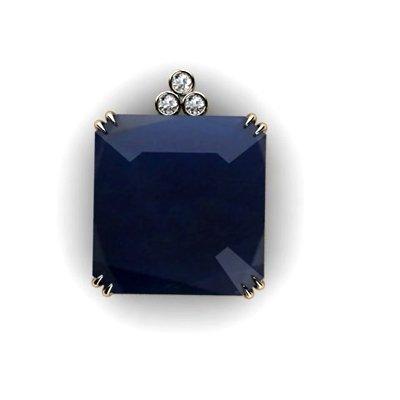 Sapphire Radiant Opaque71.91ctw Diamond Pendant 14k