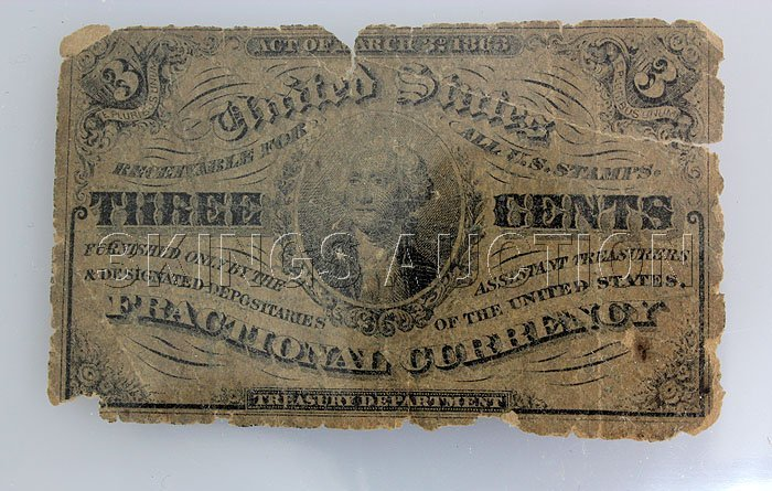 1863 3 CENTS Fractional US Currency Rare