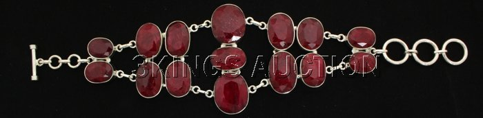 Fashion Silver 279.00ctw Oval Ruby Beryl Bracelet