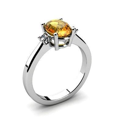 Citrine 1.25 ctw Diamond Ring 14kt White Gold