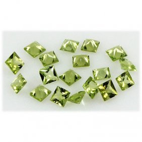 Peridot 5.94 ctw Loose Gemstone 4x4mm Princess Cut