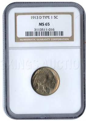 Certified Buffalo Nickel 1913-D Type 1 MS65 NGC