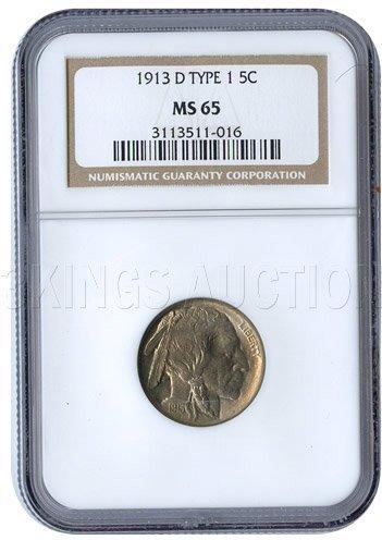 Certified Buffalo Nickel 1913-D Type 1 MS65 NGC