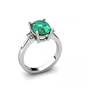 Emerald 2.60 ctw Diamond Ring 14kt White Gold