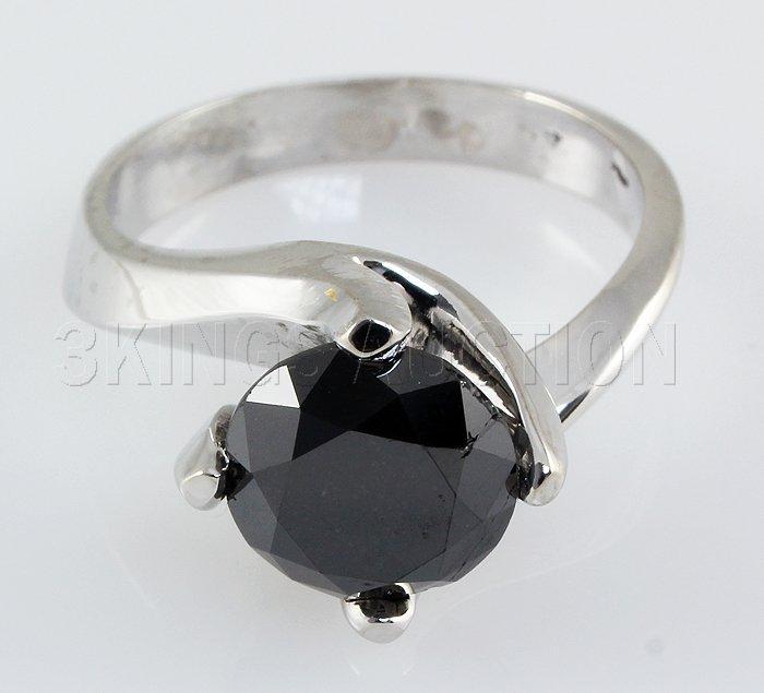 3.50 ctw Black Diamond Ring 14kt W/G Opaque, SI1