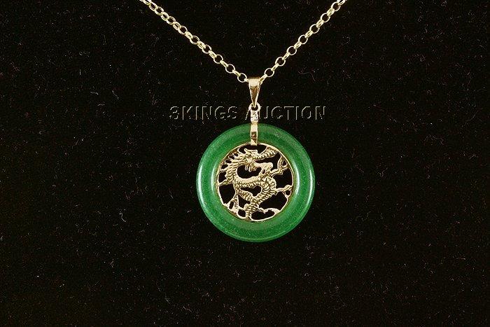 24.00ctw Good Fortune Dragon Jade Silver Pendant
