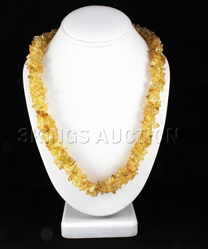737.50CTW 22in. YELLOW QTZ CHIPPED STONE NECKLACE METAL