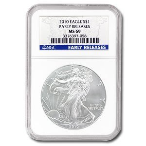2010 Silver American Eagle (NGC MS-69) Early Release Bl