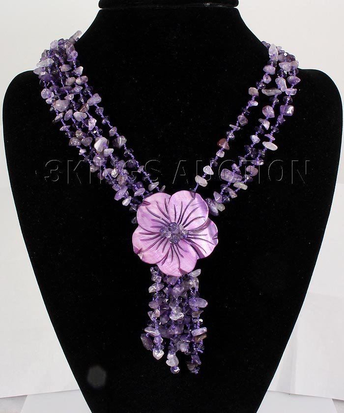513.23CTW FOUR ROWS CHIPPED AMETHYST BEADS NECKLACE