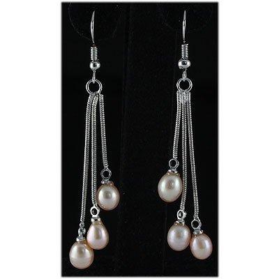 Natural 4.53g Freshwater Dangling Silver Earring