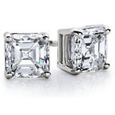 1.25 ctw Princess cut Diamond Stud Earrings G-H, SI2