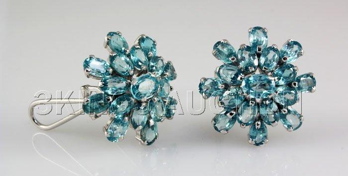 60.05CTW Flower Blue Zircon Cluster Silver Earring