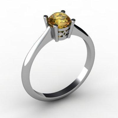 Citrine 0.40 ctw Ring 14kt White Gold