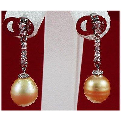 10-11MM Dangling South Sea Pearl & Crystal Earring