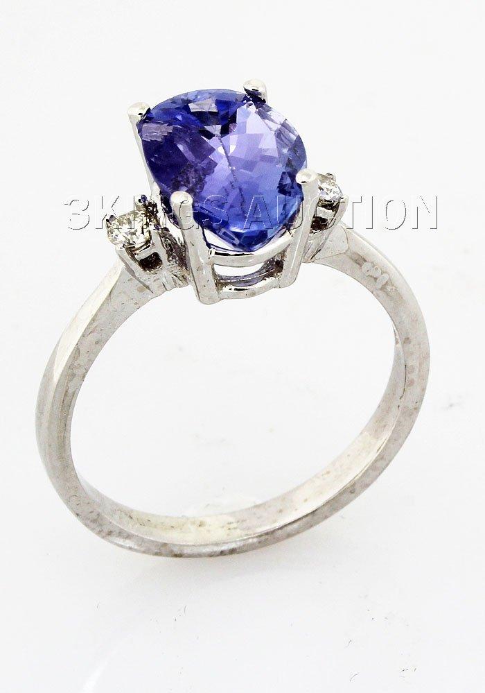 2.83 ctw Tanzanite & Diamond Ring 14kt, G-SI1, AAA