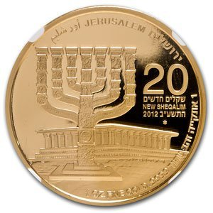 2012 Israel 1 oz Gold Menorah .9999 MS-70 NGC