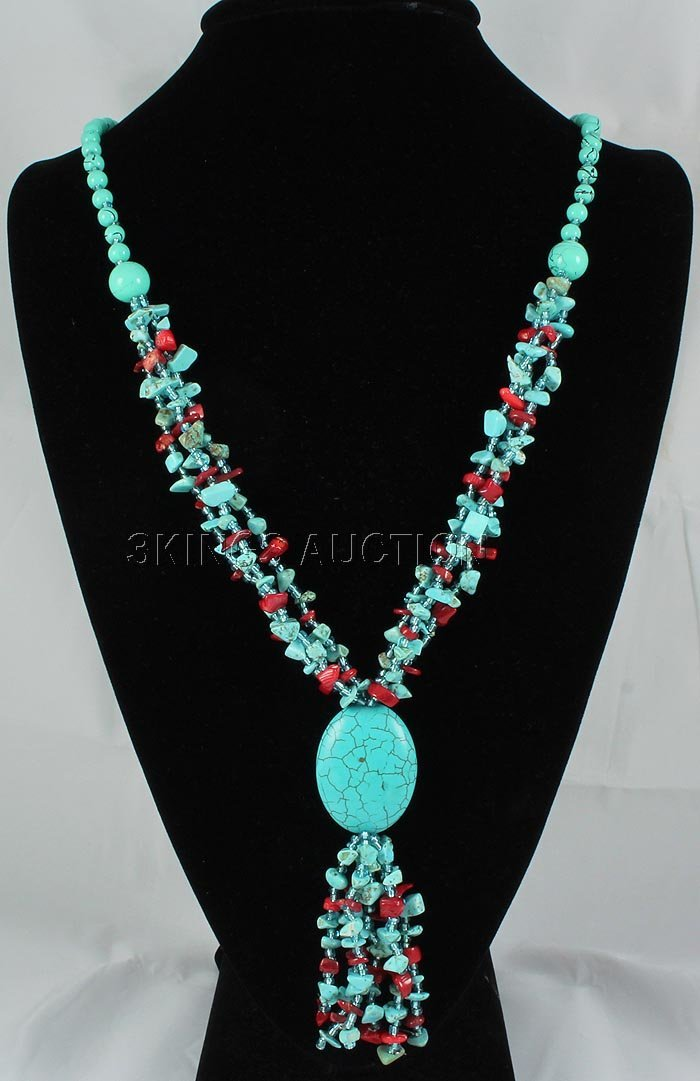 437.26CTW TURQUOISE & RED CORALS STATEMENT NECKLACE